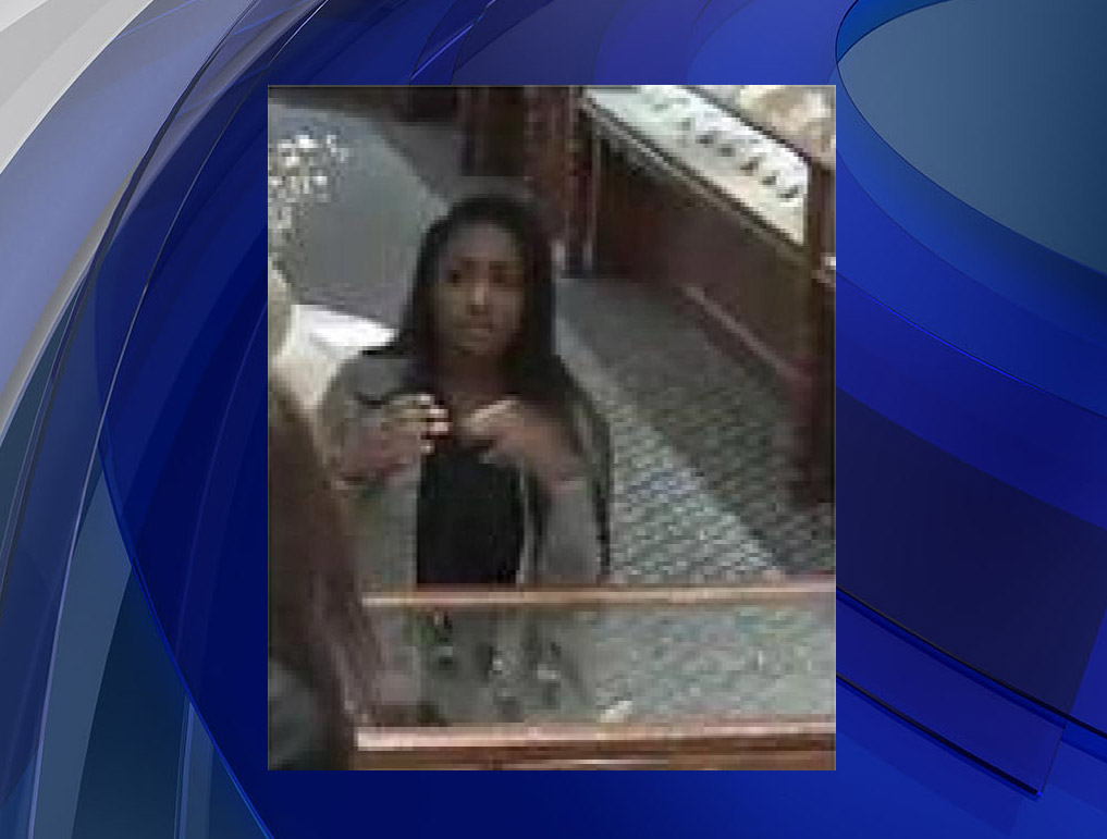 Police say the woman seen in this photo in Williams Jewelers on Tuesday is Summer Sawyer. (credit: Denver Police)