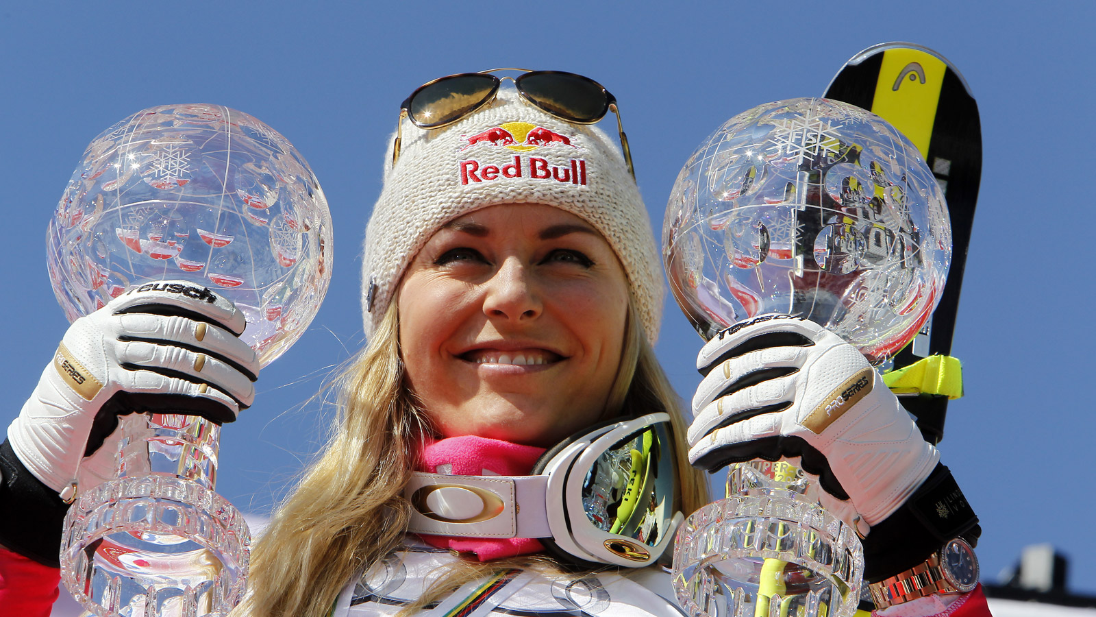 Lindsey Vonn of the USA wins the overall SuperG and Downhill World Cup globes during the Audi FIS Alpine Ski World Cup Finals Women's Super G on March 19, 2015, in Meribel, France. (Photo by Alexis Boichard/Agence Zoom/Getty Images)