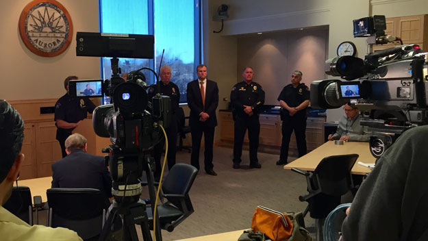 Aurora police at the news conference on Monday (credit: Tom Mustin)