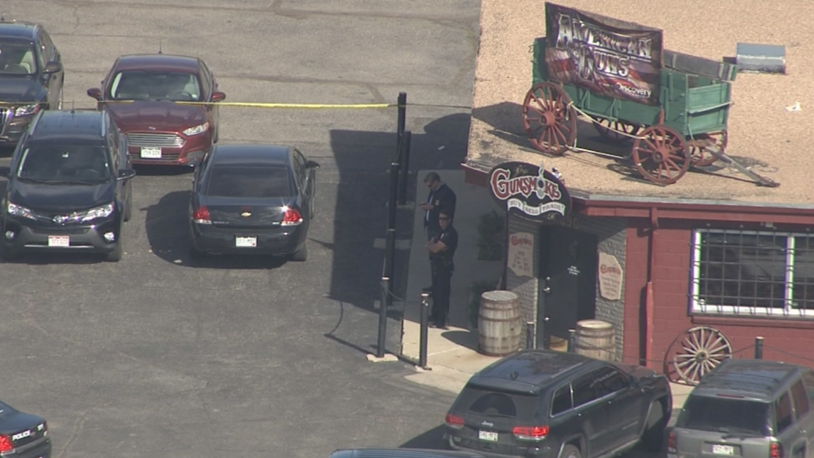 Copter4 flew over the Gunsmoke gunshop in Wheatridge where the ATF was conducting a search on Tuesday (credit: CBS)