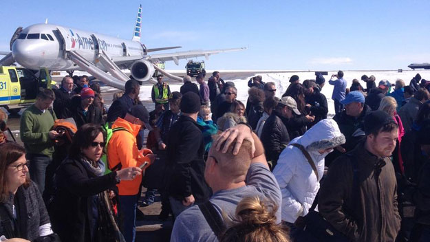 Passengers following the evacuation (credit: Andy Aldridge)