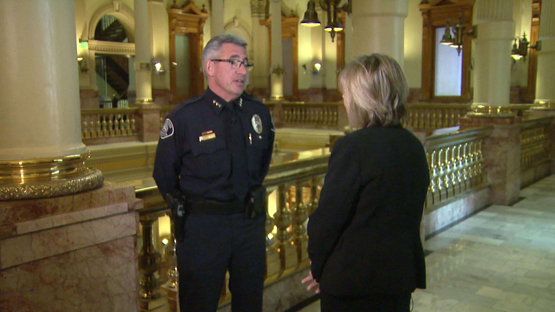 Lakewood Police Chief Kevin Paletta talks with CBS4's Shaun Boyd (credit: CBS)