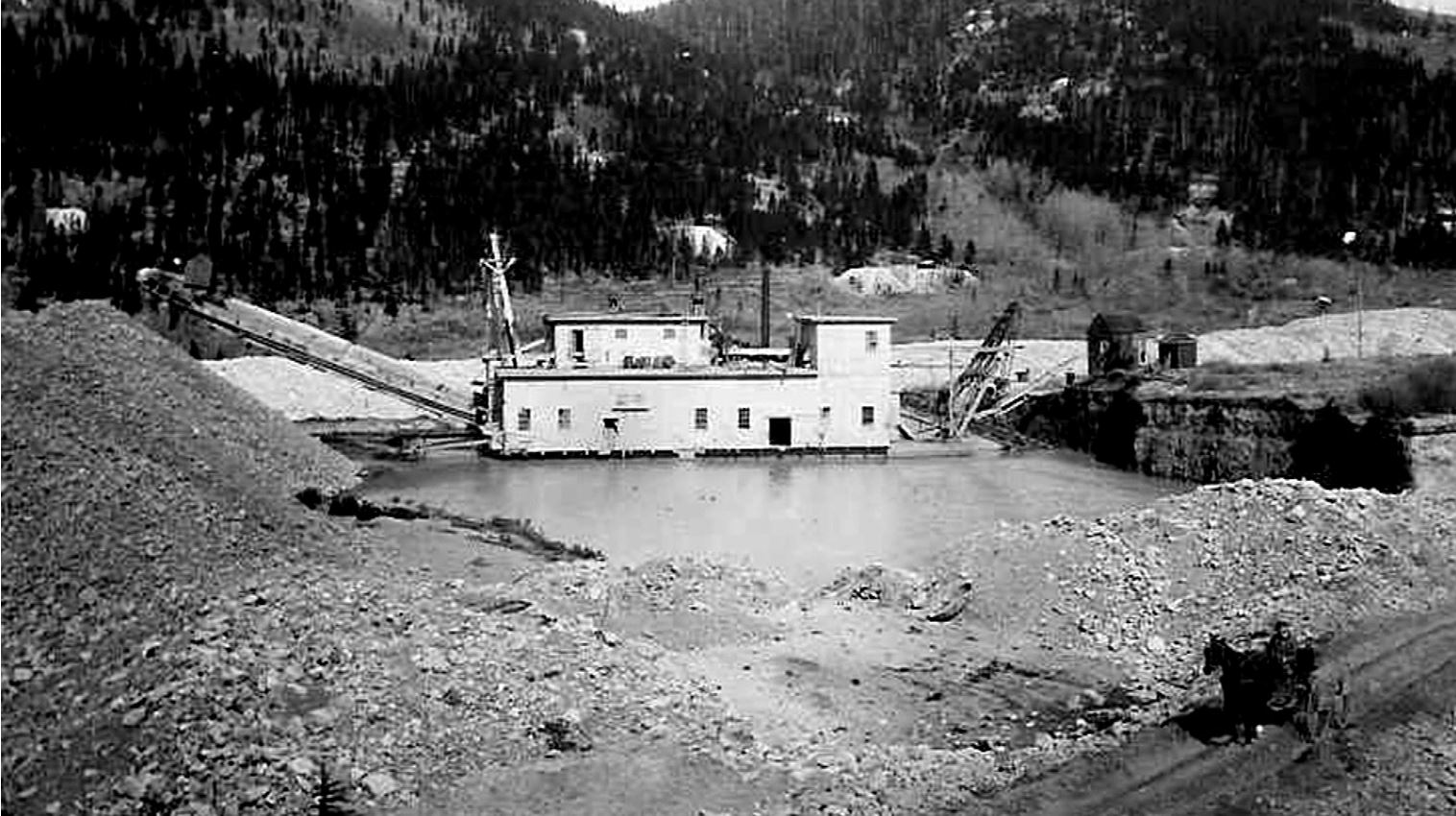 The Reiling Dredge as it appeared when in opperation along French Gulch, east of Breckenridge. This dredge operated from 1909 to 1922, removing around $7 million in gold. (credit: Breckenridge Heritage Alliance)