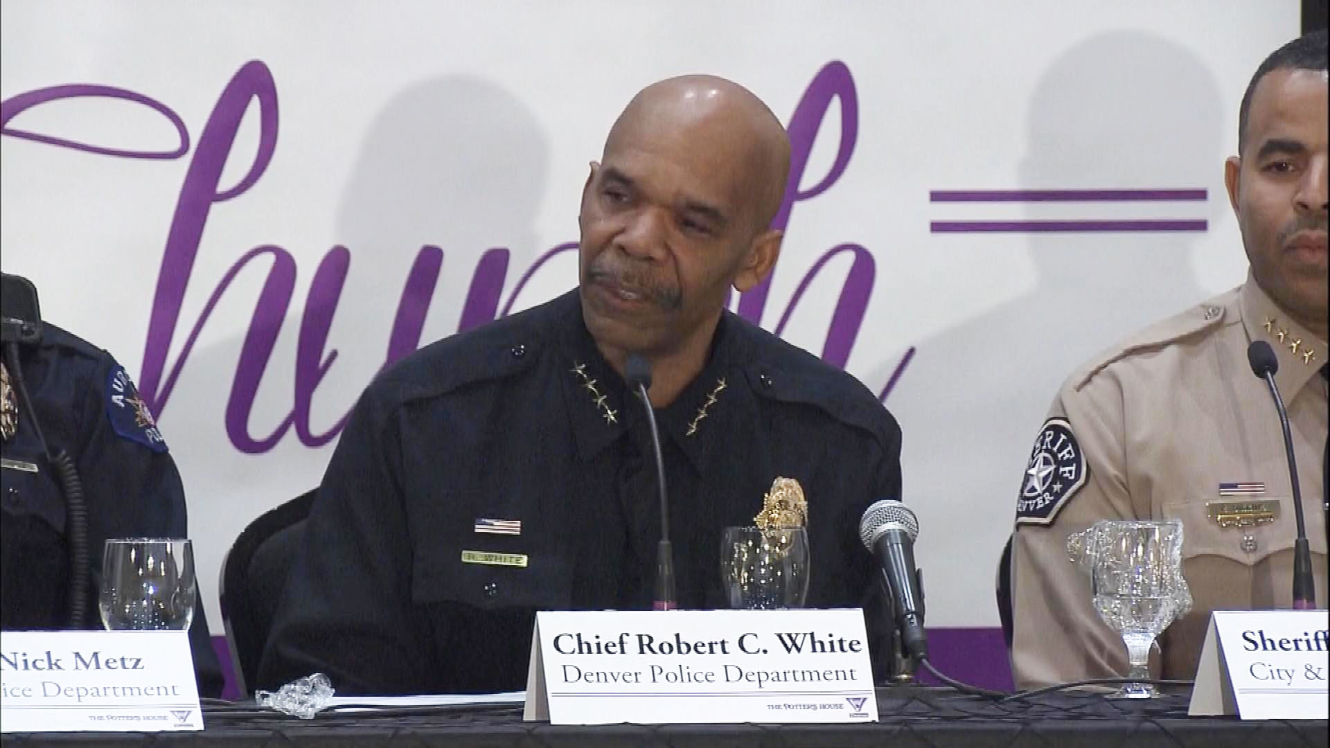 Denver Police Chief Robert White at the meeting on Tuesday (credit: CBS)