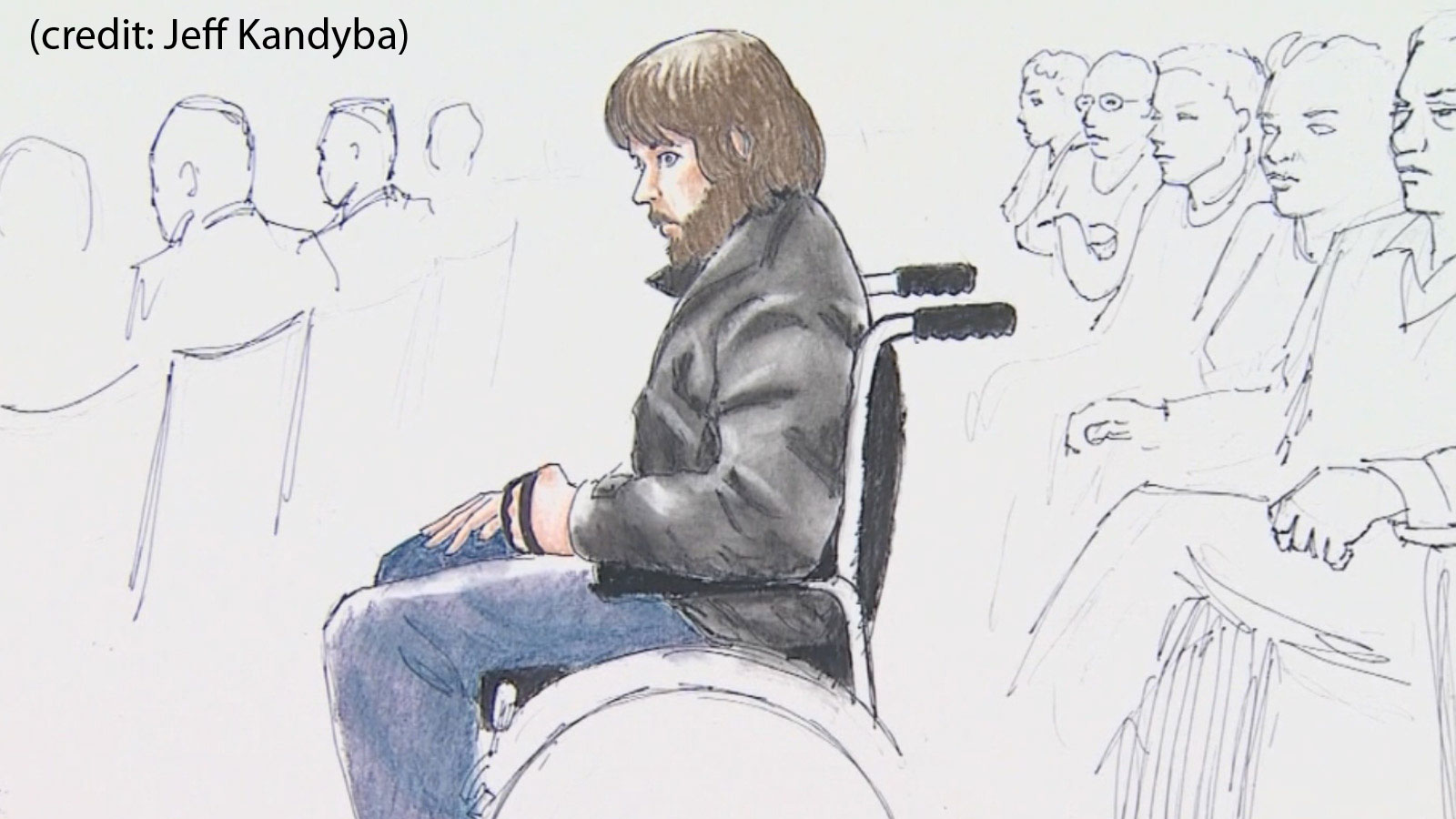 A sketch of Caleb Medley before he testified in court during the Aurora theater shooting trial (credit: Jeff Kandyba)