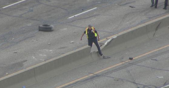 Copter4 flew over the broken barrier on I-25 on April 1 (credit: CBS)