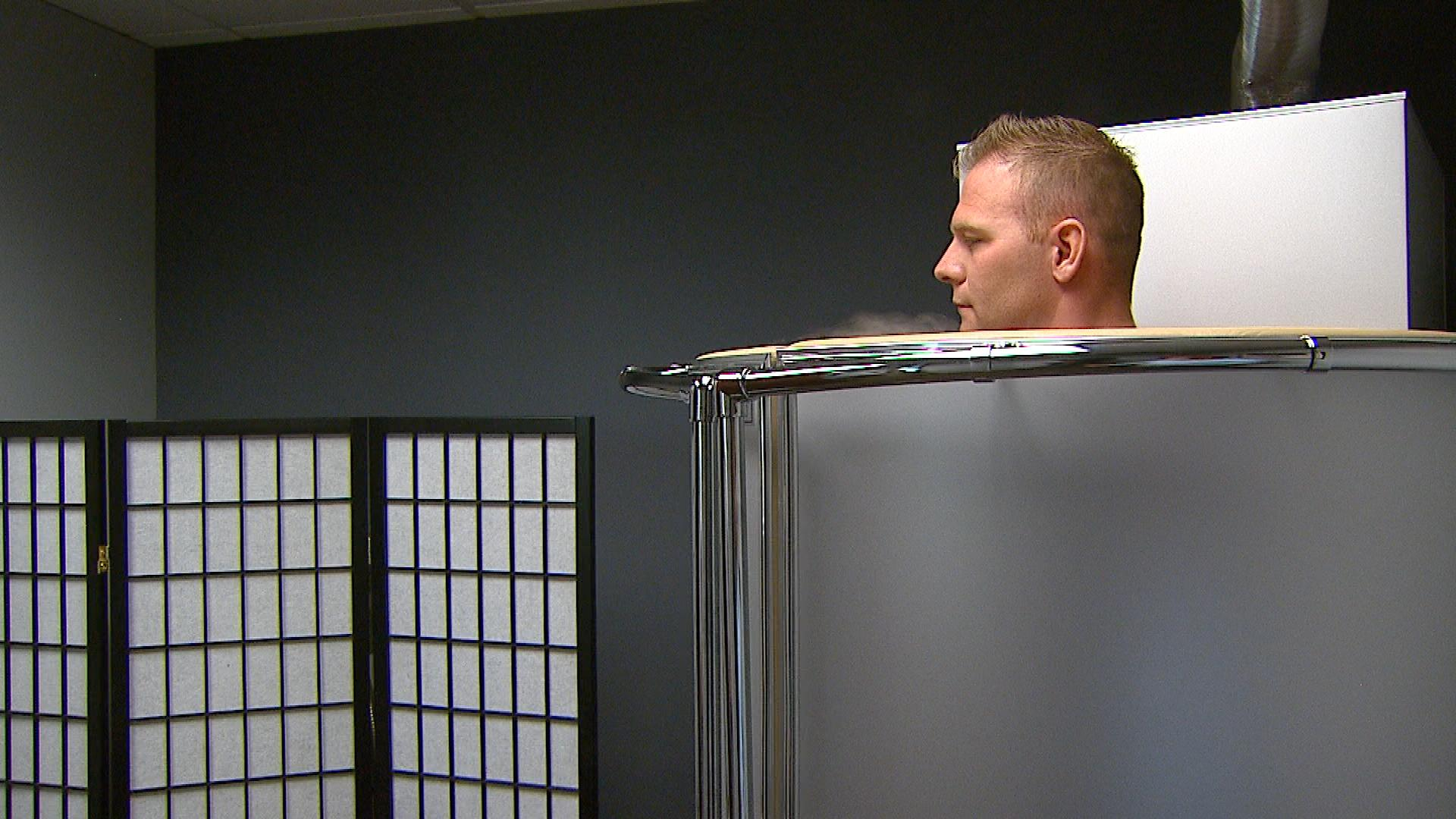 Ian Wallace in the cryotherapy chamber (credit: CBS)