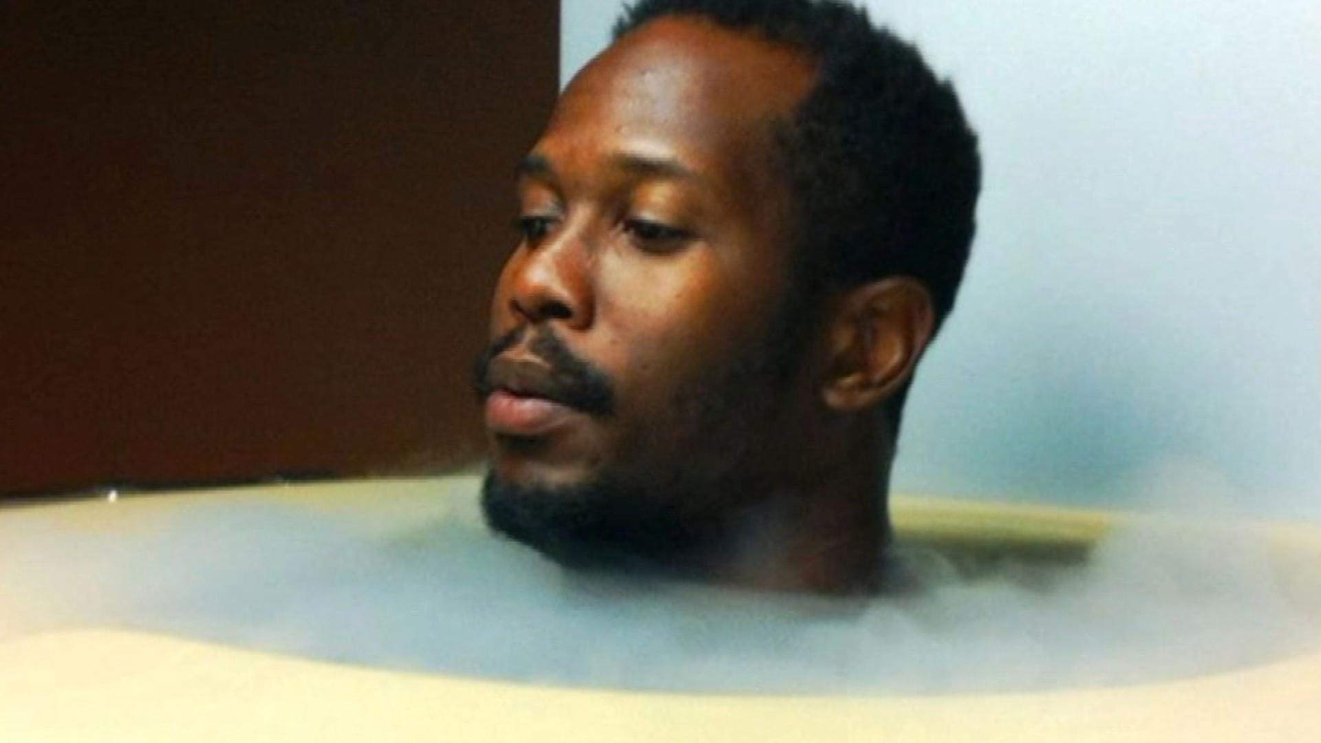 Von Miller in the cryotherapy chamber (credit: CBS)