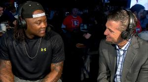 Danny Trevathan and CBS4's Vic Lombardi on Xfinity Monday Live (credit: CBS)