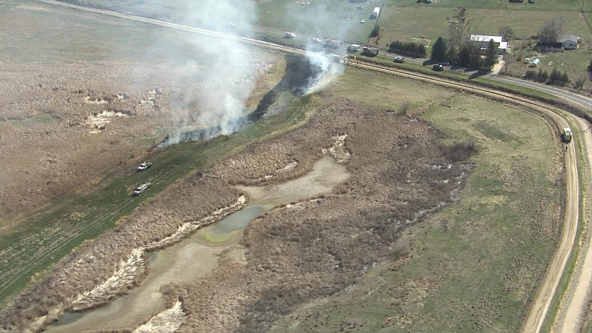 The controlled burn in Weld County (credit: CBS)