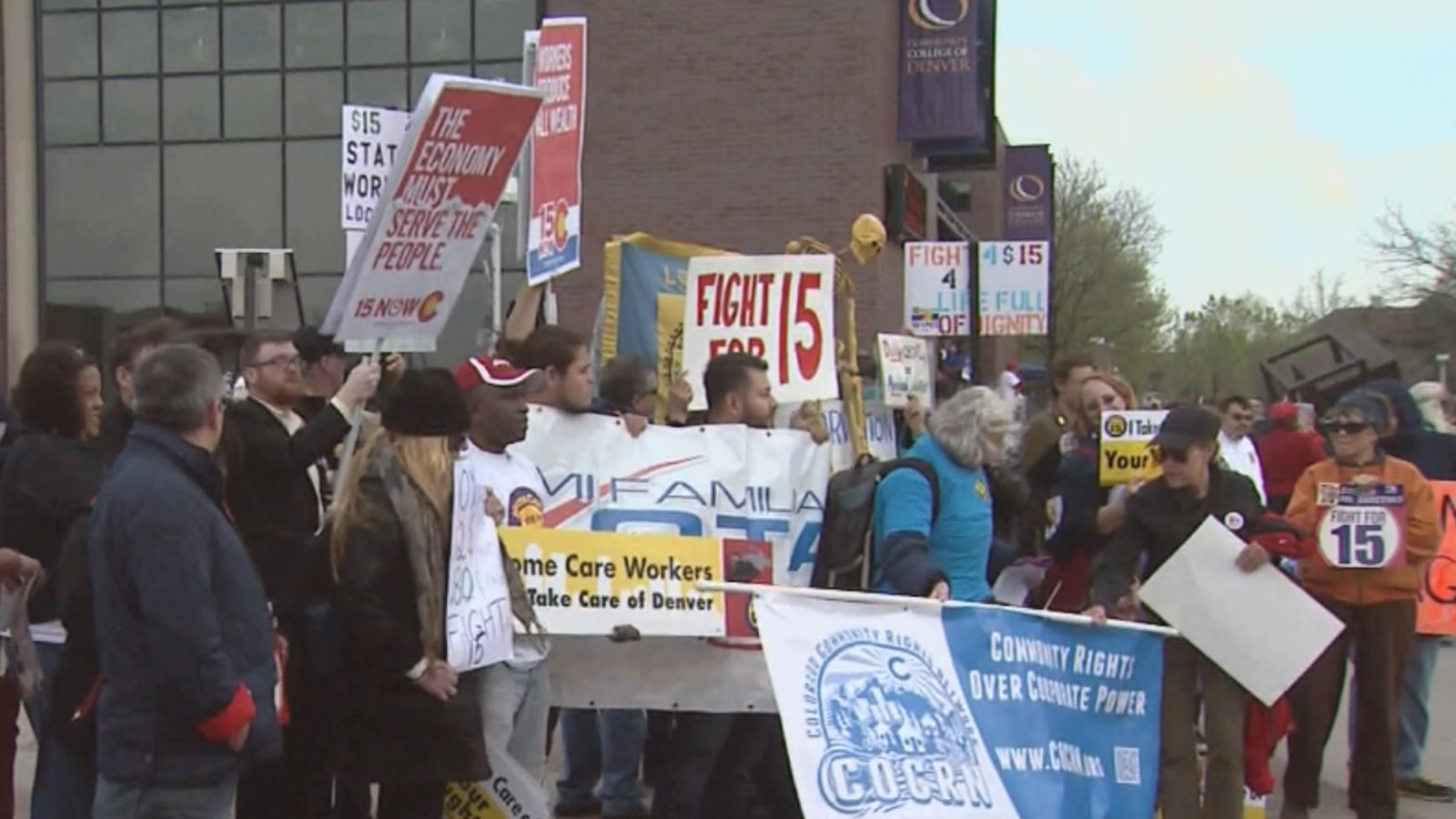Fight for $15 rally in Denver on Wednesday (credit: CBS)