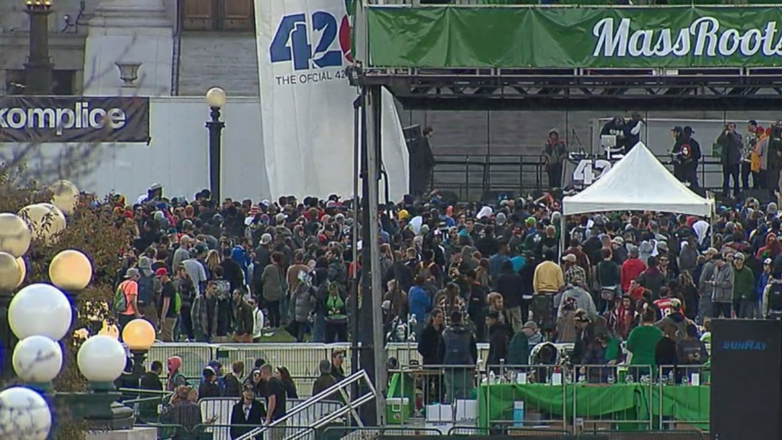 The 4/20 rally at Civic Center Park on Saturday (credit: CBS)