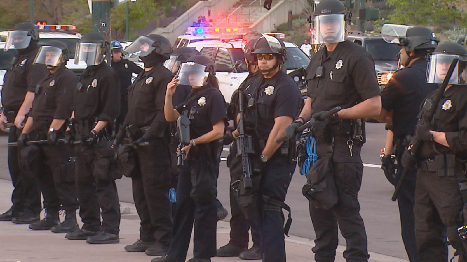Denver Police at a protest near the state Capitol on Tuesday (credit: CBS)