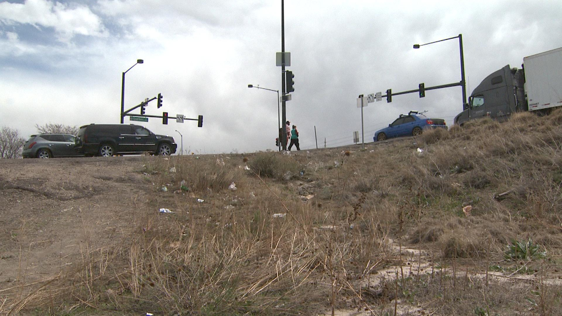The area where the motorcyclist was found off I-70 (credit: CBS)
