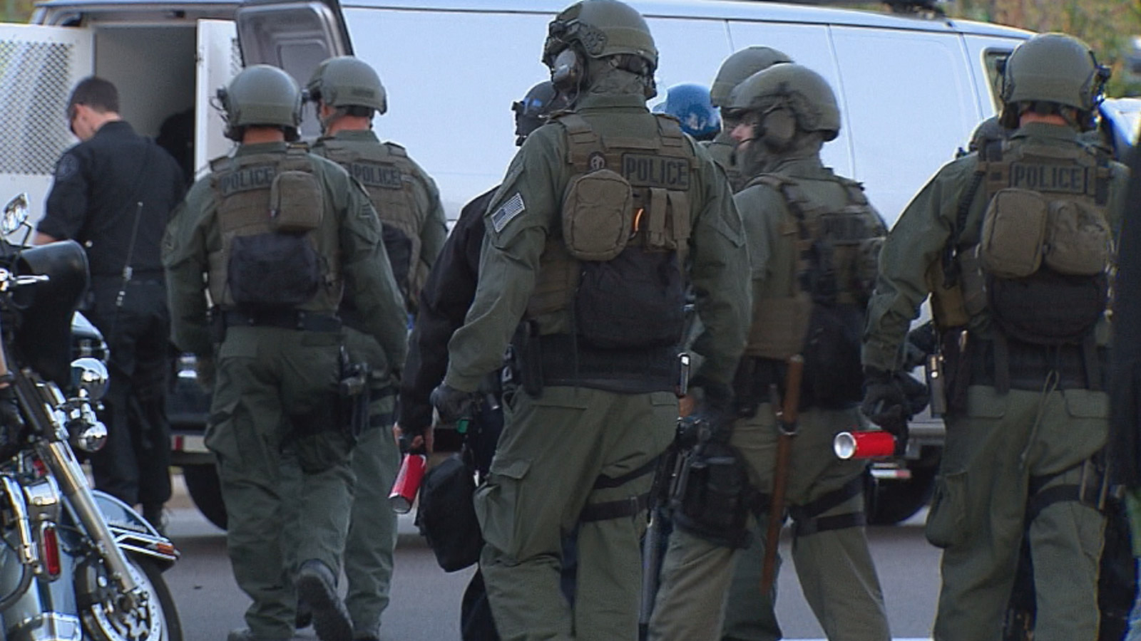 SWAT officers at a protest on Tuesday (credit: CBS)