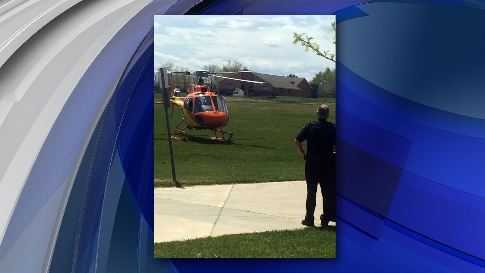 The student being airlifted to the hospital (credit: North Metro Fire Department)