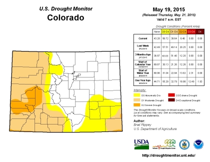 Drought conditions across Colorado on May 19, 2015. (credit: US Drought Monitor)