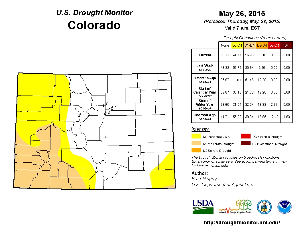 Drought conditions across Colorado near the end of May 2015. (credit: Drought.gov)