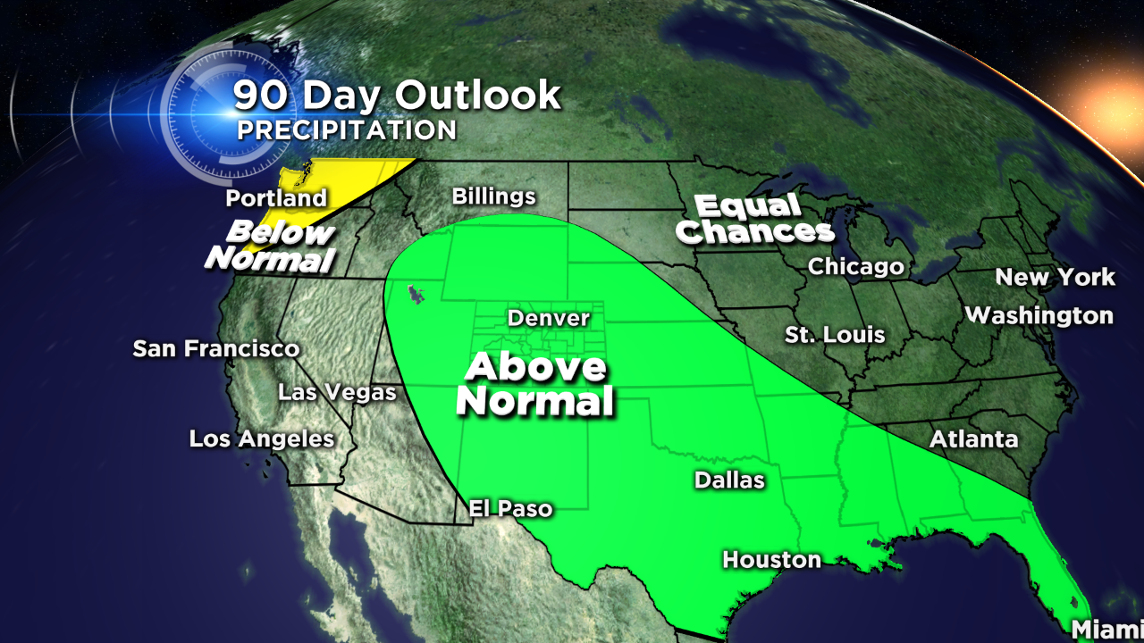 The 90-day precipitation outlook from NOAA's Climate Prediction Center issued May 21, 2015. (credit: CBS)