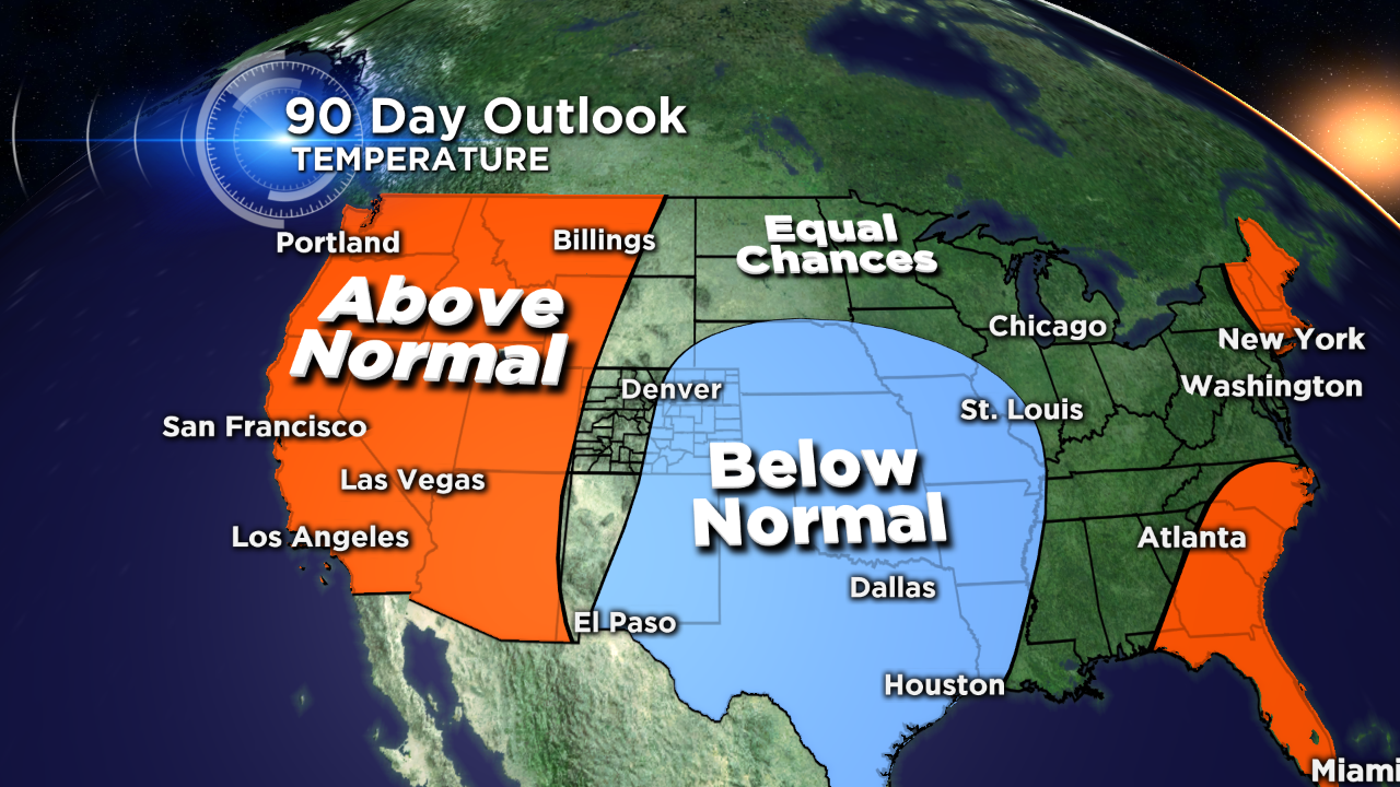 The 90-day temperature outlook from NOAA's Climate Prediction Center issued May 21, 2015. (credit: CBS)