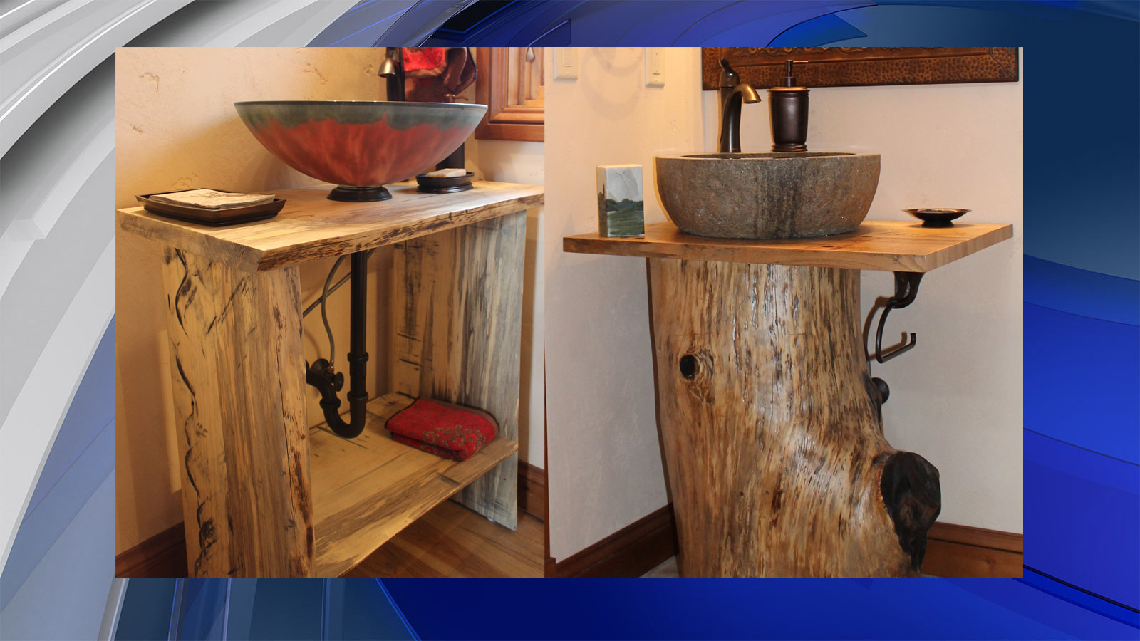 Bathroom vanities from reclaimed burned trees (credit: Jennicca Mabe)