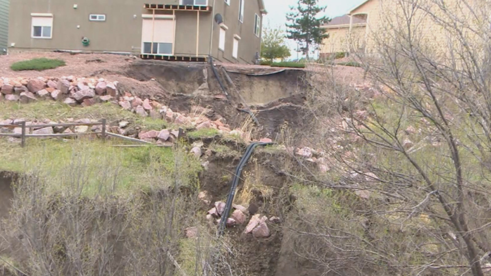 Heavy spring rains have caused landslides in and around portions of Colorado Springs. (credit: CBS)