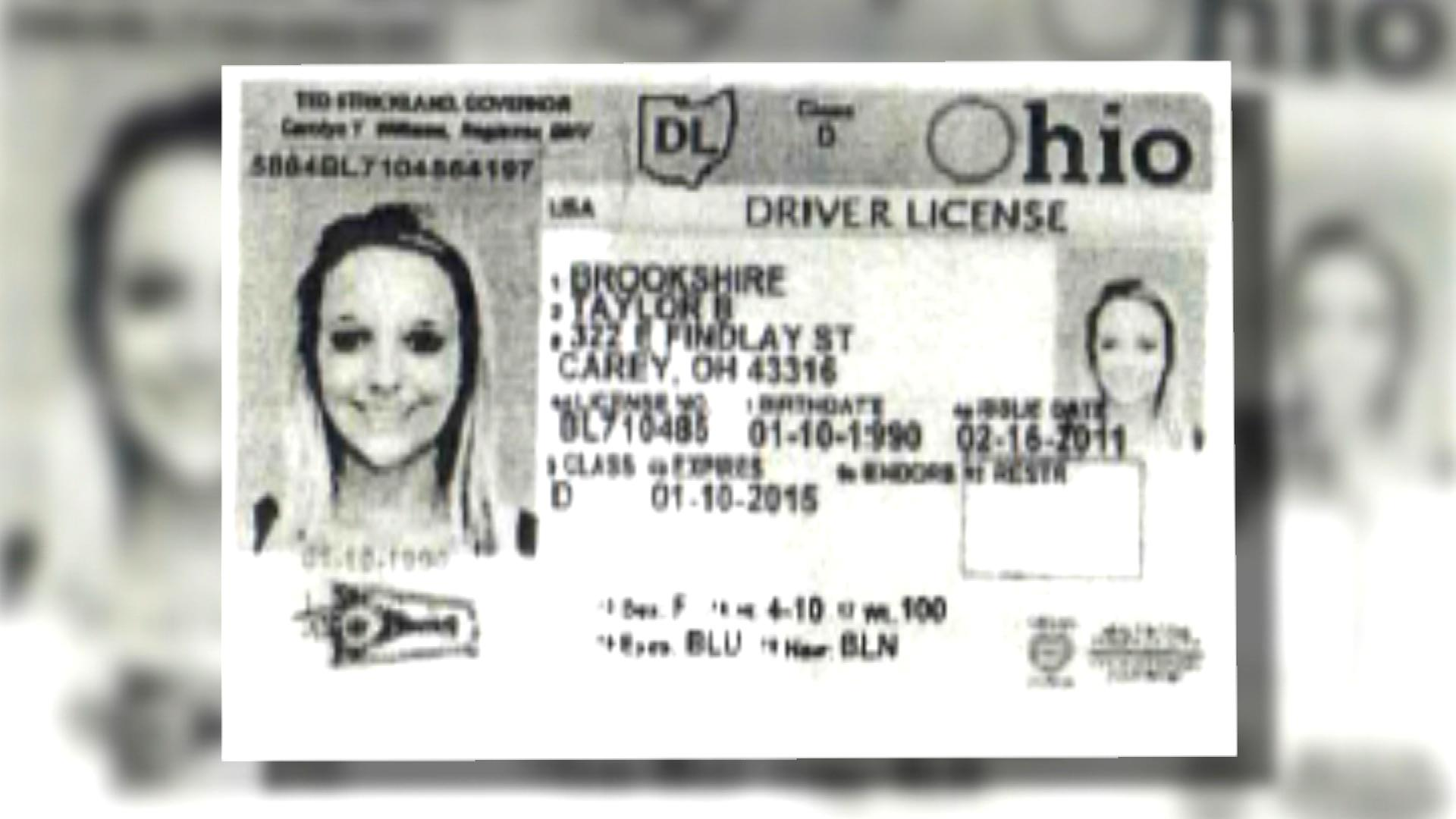 Taylor Brookehire's fake ID (credit: CBS)