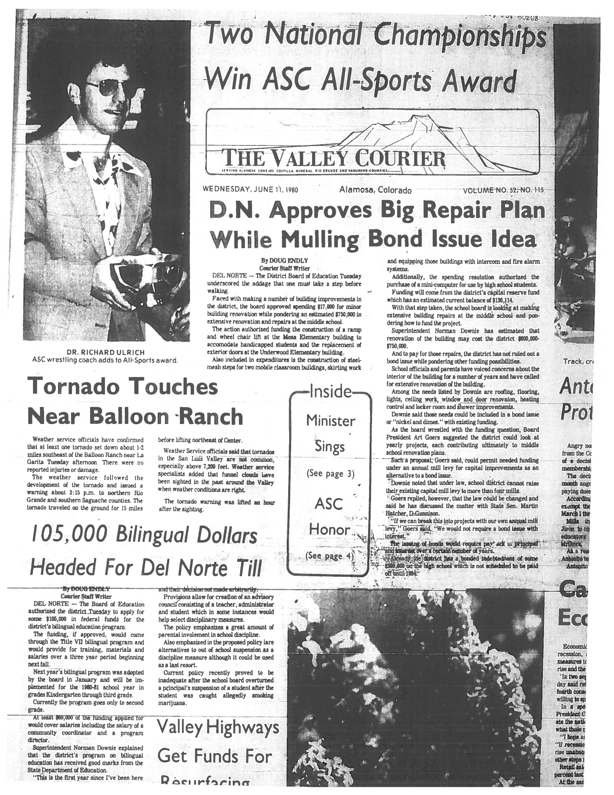 Newspaper archives provided of a tornado in Saguache County on June 10, 1980. (credit: Adams State University)