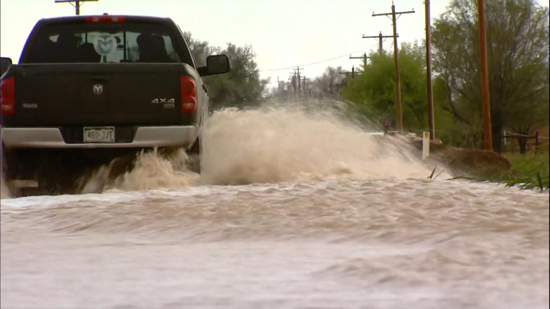 Flooding in Sterling (credit: CBS)