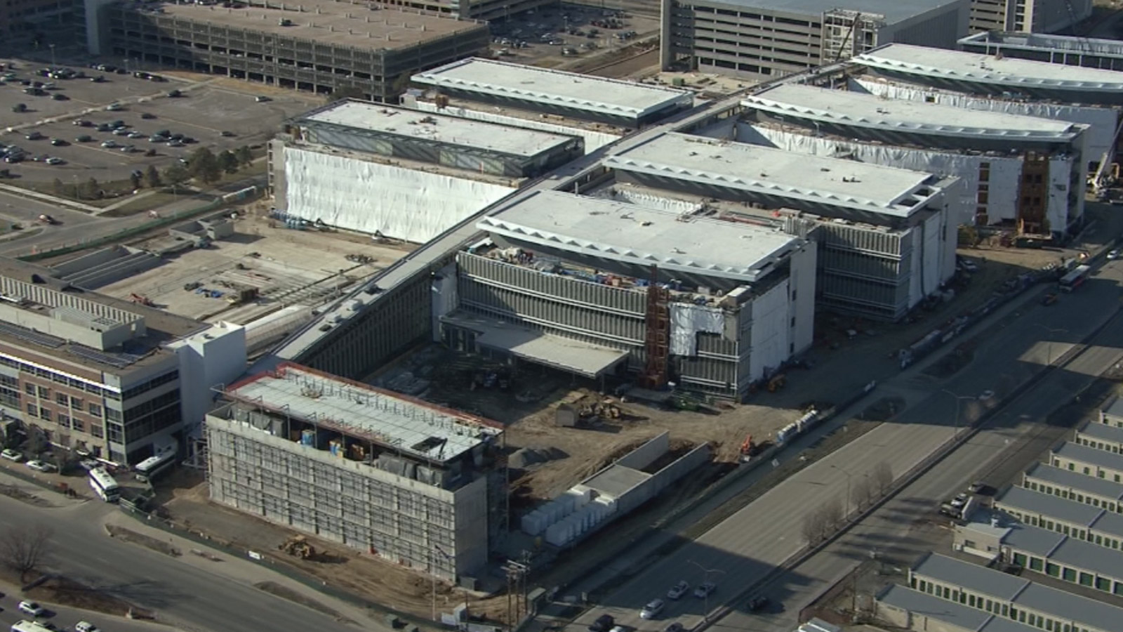 Copter4 flew over the VA Hospital under construction in Aurora (credit: CBS)