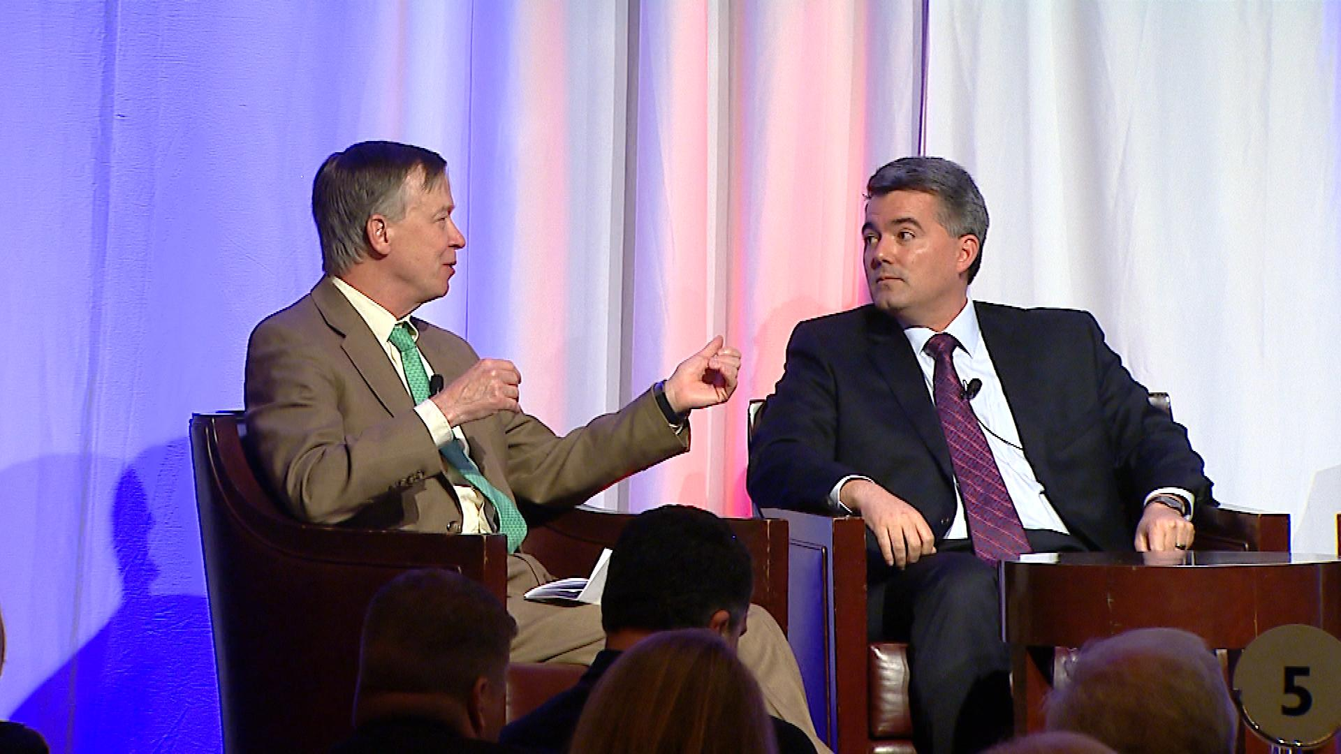 Gov. John Hickenlooper and U.S. Sen. Cory Gardner at the Vital for Colorado breakfast (credit: CBS)