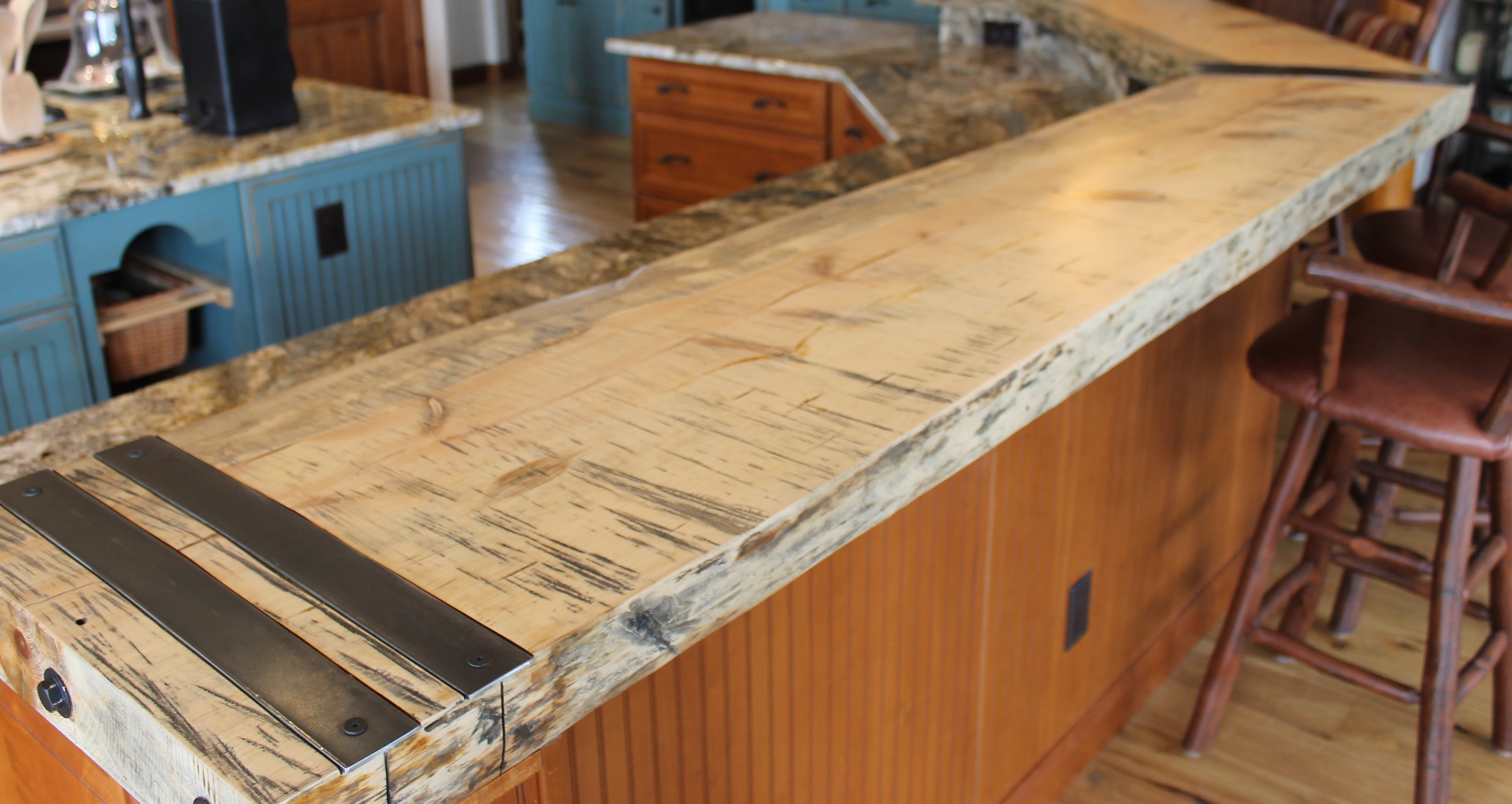 Countertop from reclaimed burned trees (credit: Jennicca Mabe)