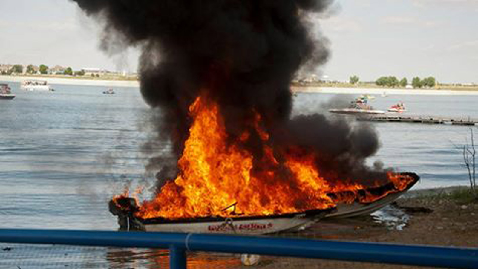 A boat fire at Boyd Lake State Park (credit: Loveland Fire Rescue)