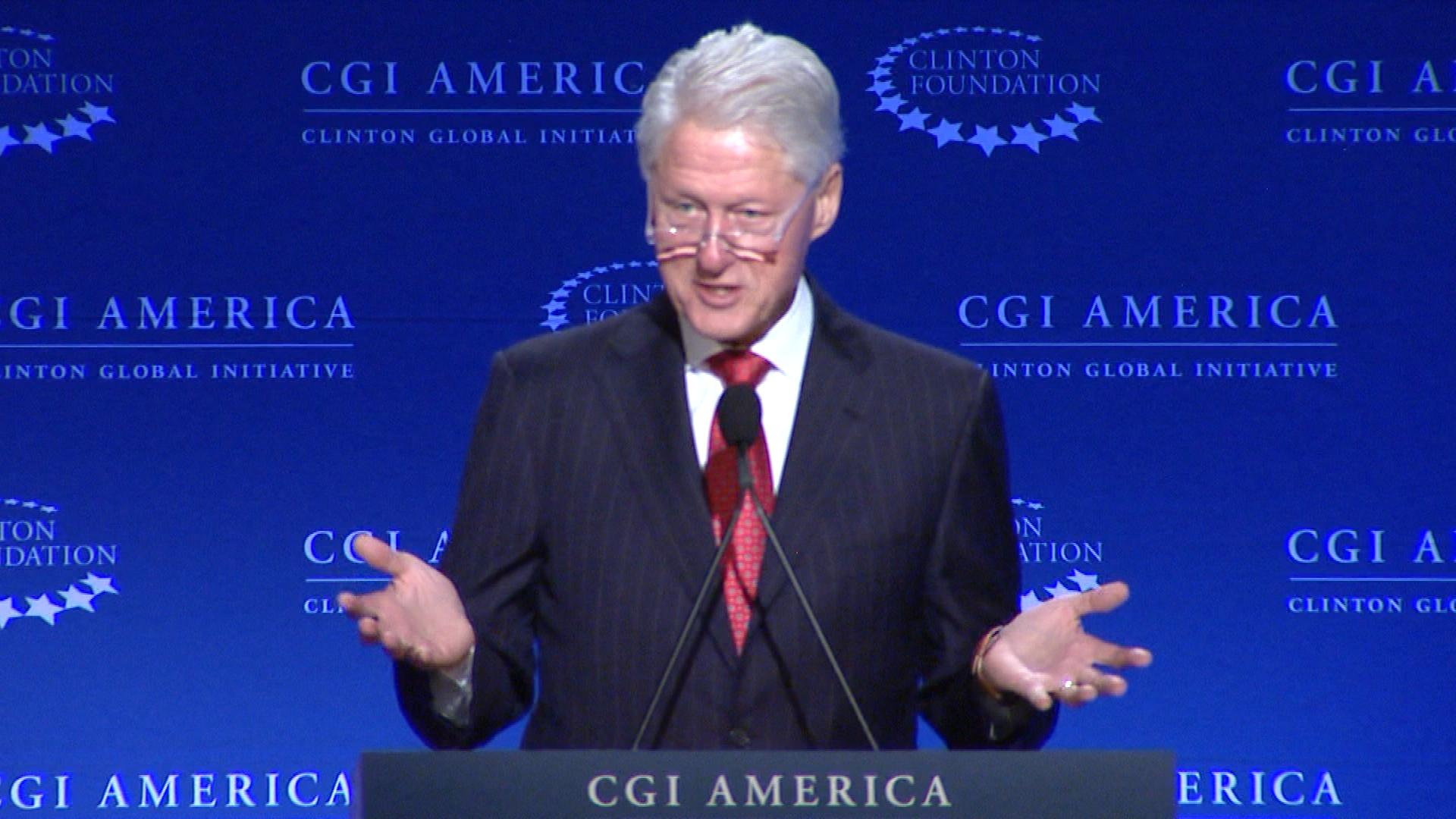 Bill Clinton in Denver on Tuesday (credit: CBS)
