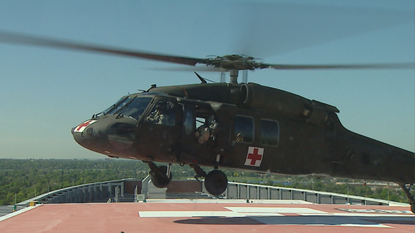 A Black Hawk helicopter landed at the University of Colorado Hospital (credit: CBS)