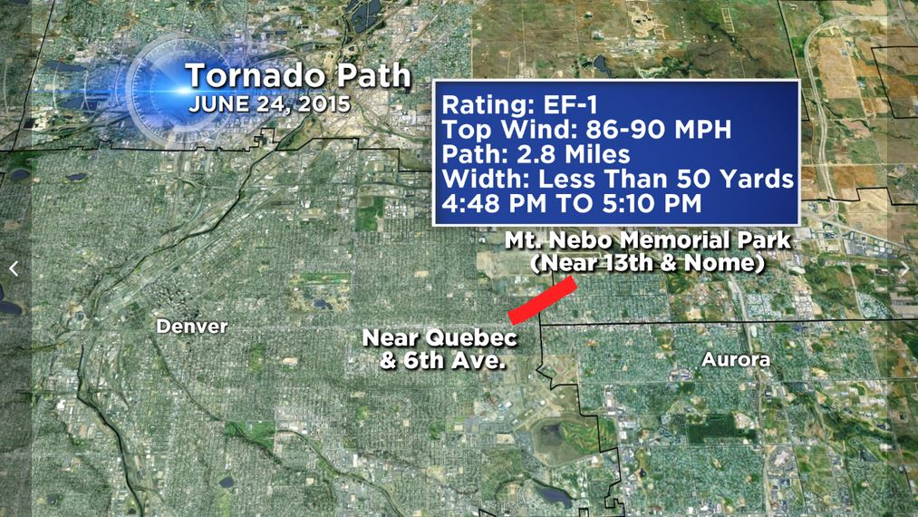 An EF-1 tornado hit parts of Denver and Aurora on Wednesday. (credit: CBS)