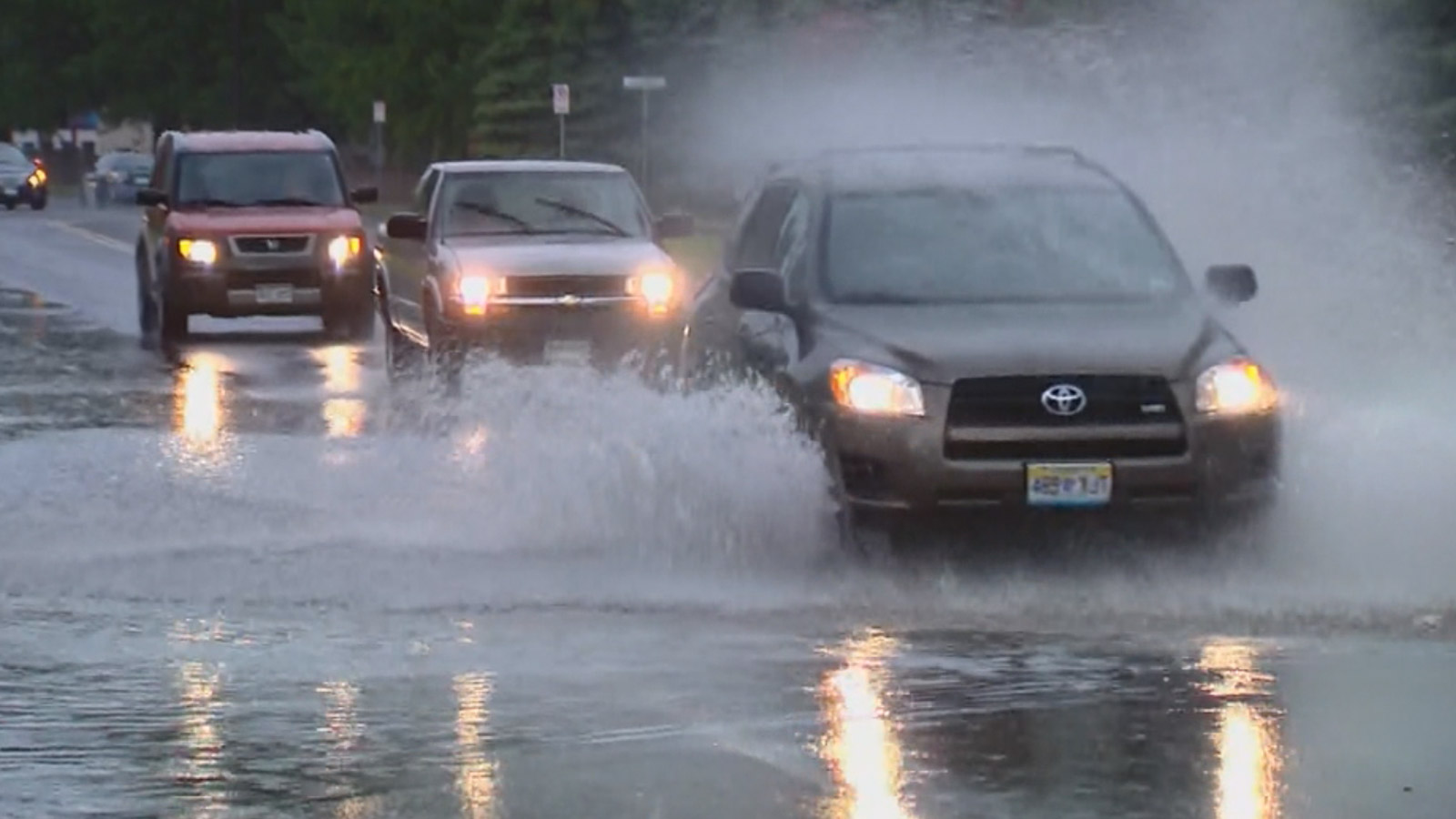 Street flooding in Loveland  on Thursday (credit: CBS)