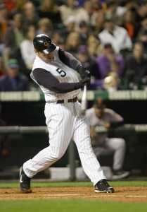 Matt Holliday #5 of the Colorado Rockies swings at the pitch during the game against the San Francisco Giants at Coors Field in September of 2006 in Denver, Colorado. (Photo by Doug Pensinger/Getty Images)