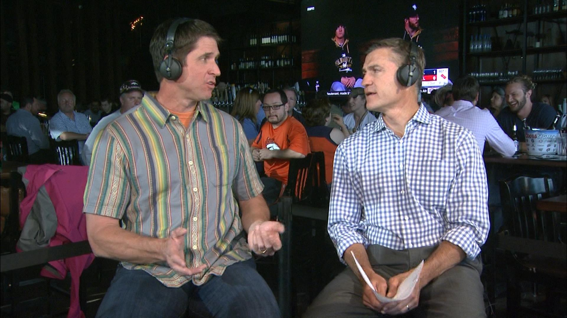 Ed McCaffrey with CBS4's Vic Lombardi on Xfinity Monday Live (credit: CBS)