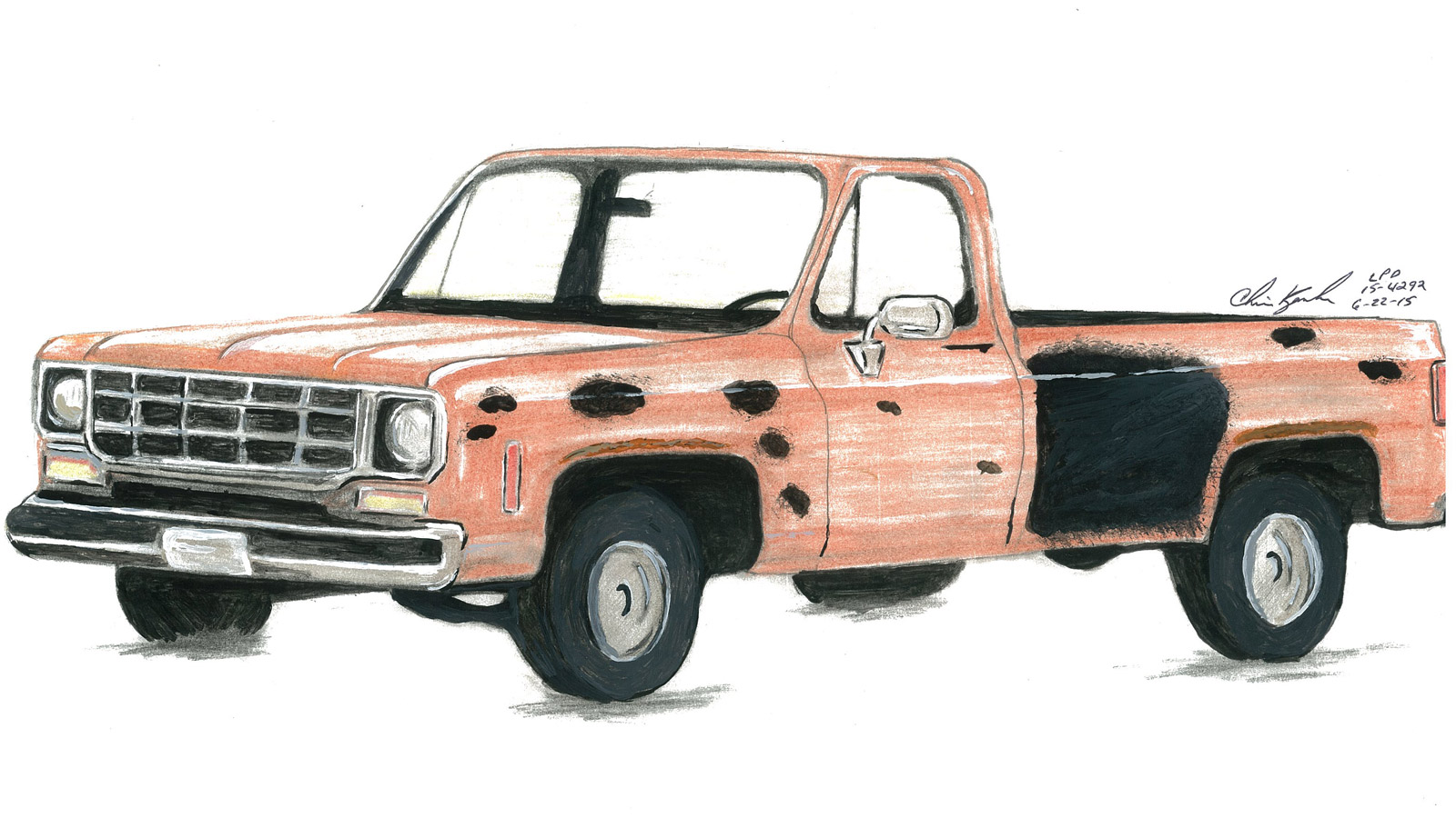 A drawing of a pickup truck authorities are looking for in the death of William Connole who was shot while taking a late night walk in Loveland (credit: CBS)