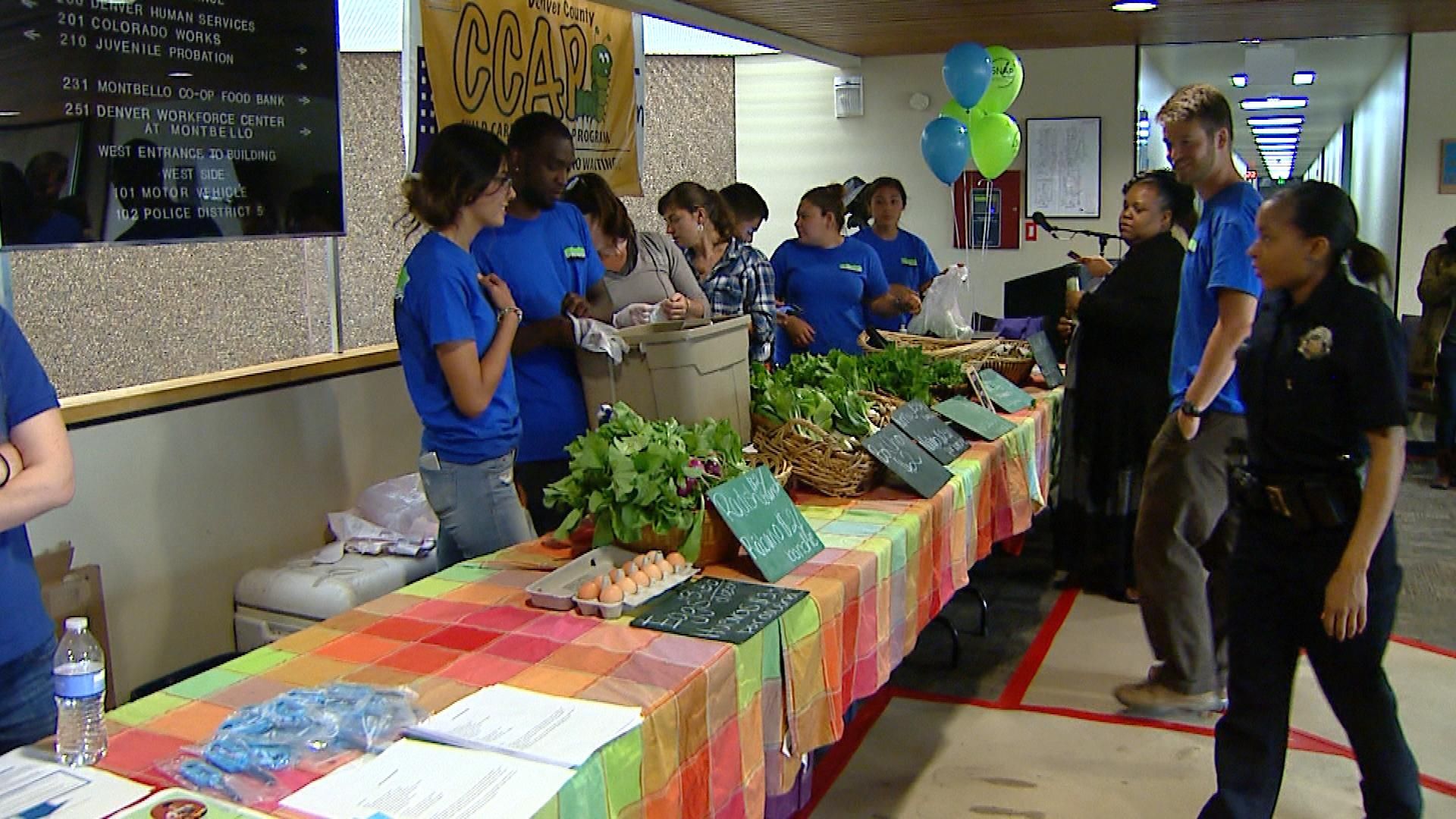 Produce is sold at the Denver Human Services office (credit: CBS)