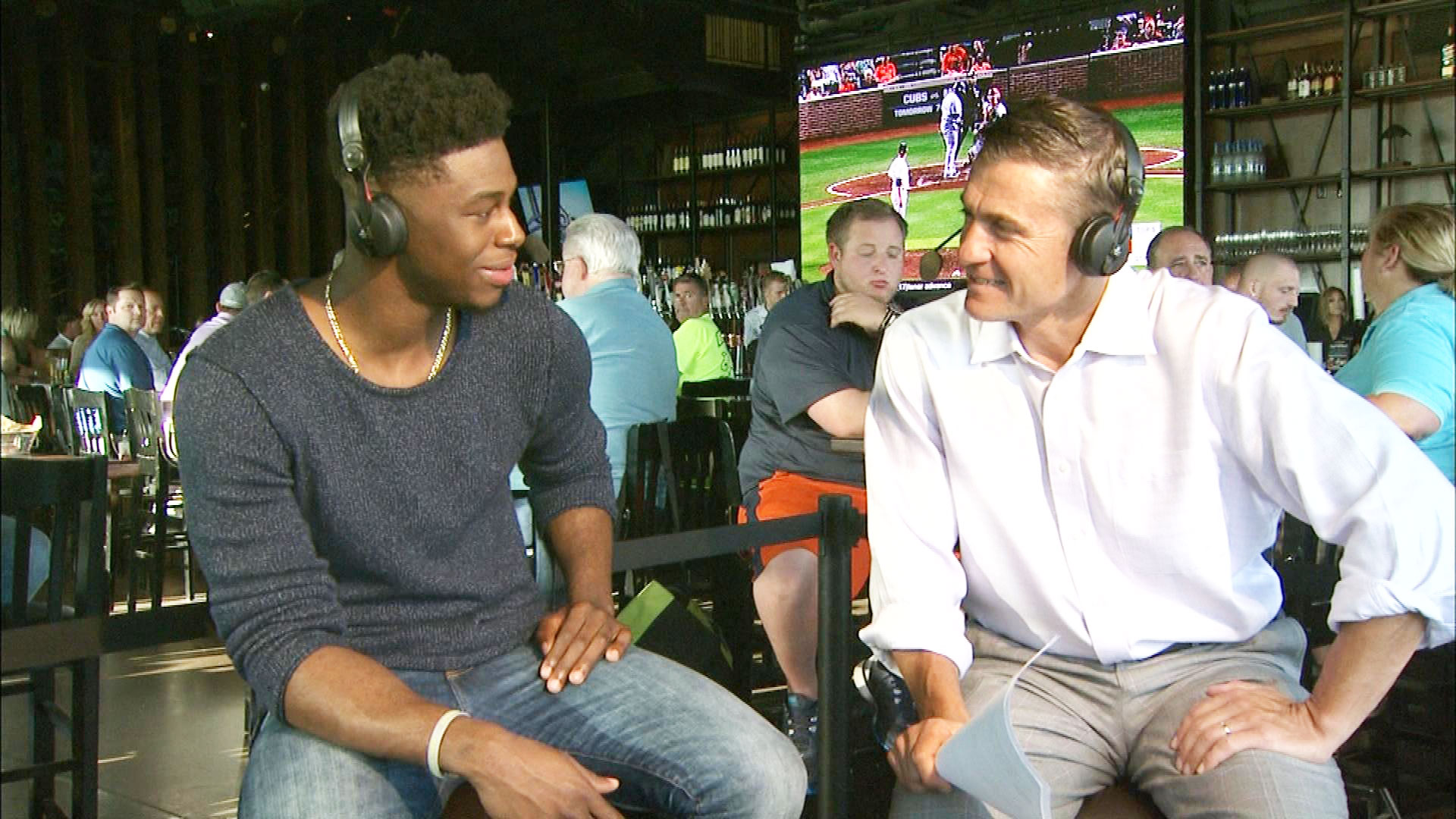 Emmanuel Mudiay talks with CBS4's Vic Lombardi on Xfinity Monday Live (credit: CBS)
