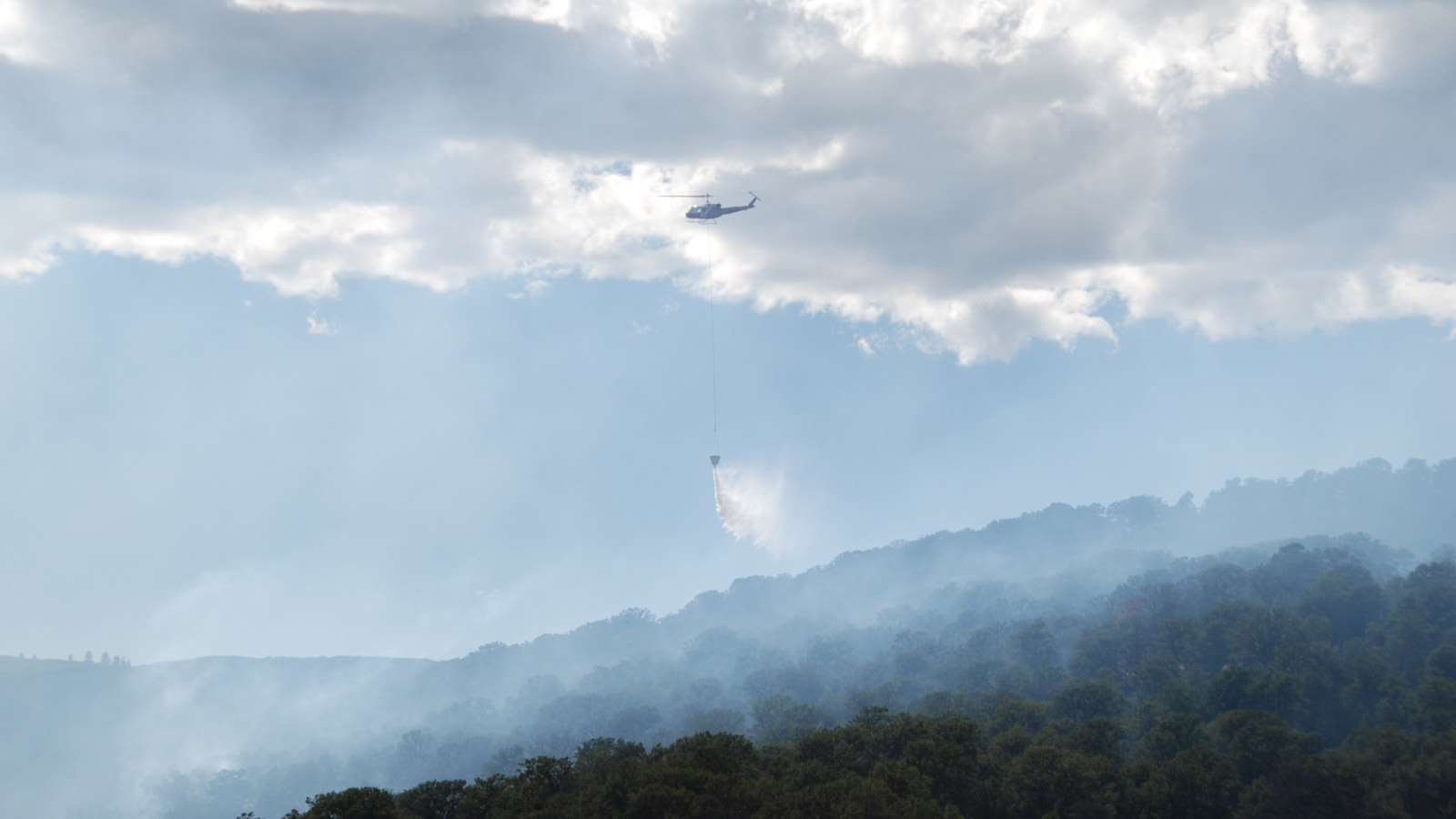 A helicopter made drops on the Red Canyon Fire burning in Garfield County (credit: Garfield County Sheriff)