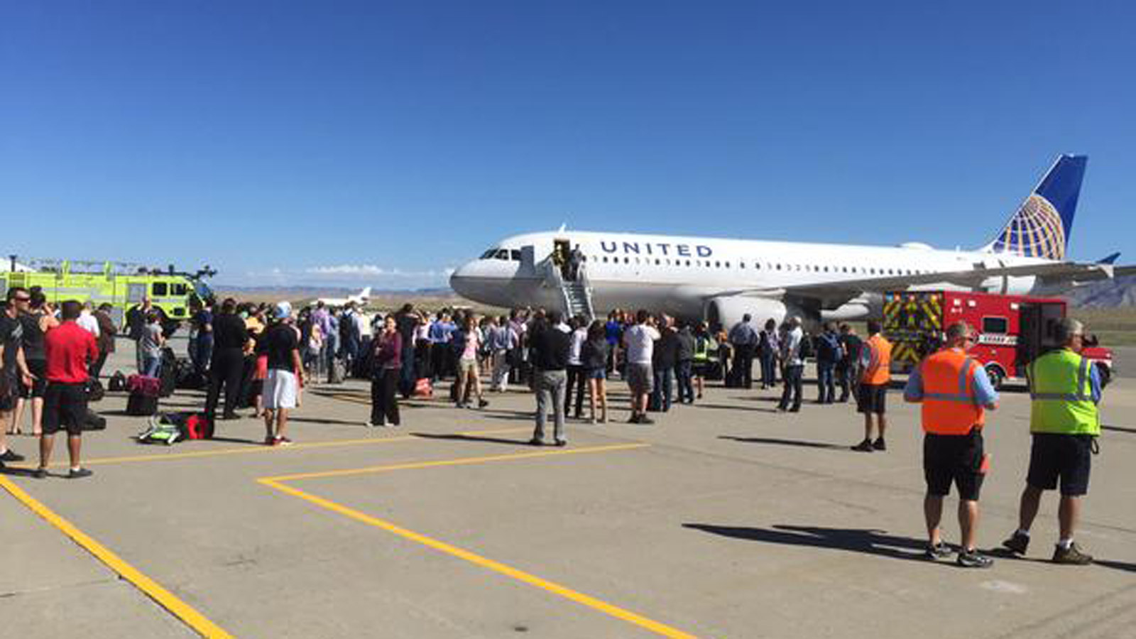 A United Airlines plane from Denver to L.A. made an emergency landing in Grand Junction (credit: Grand Junction Fire Dept.)