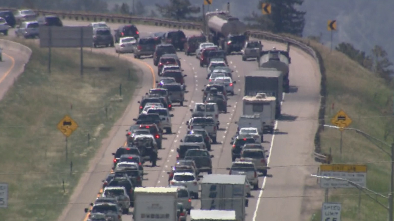 Heavy traffic along I-70 on July 3 (credit: CBS)