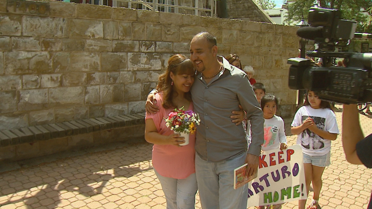 Arturo Hernandez walked out of a Denver church in July 2015 after 9 months of seeking sanctuary (credit: CBS)