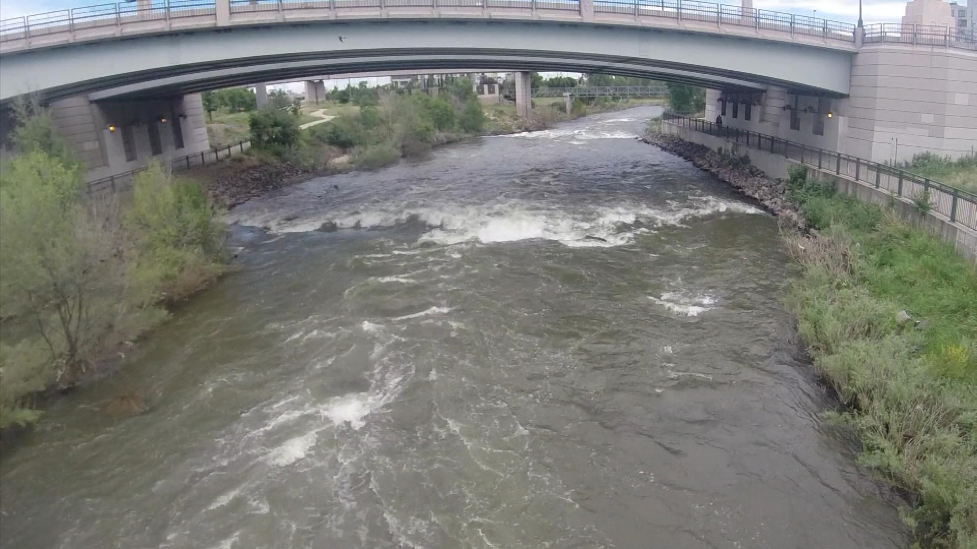 The South Platte River on Tuesday (credit: CBS)