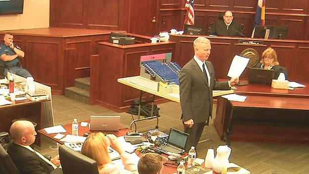 District Attorney George Brauchler during closing arguments on Thursday (credit: CBS)