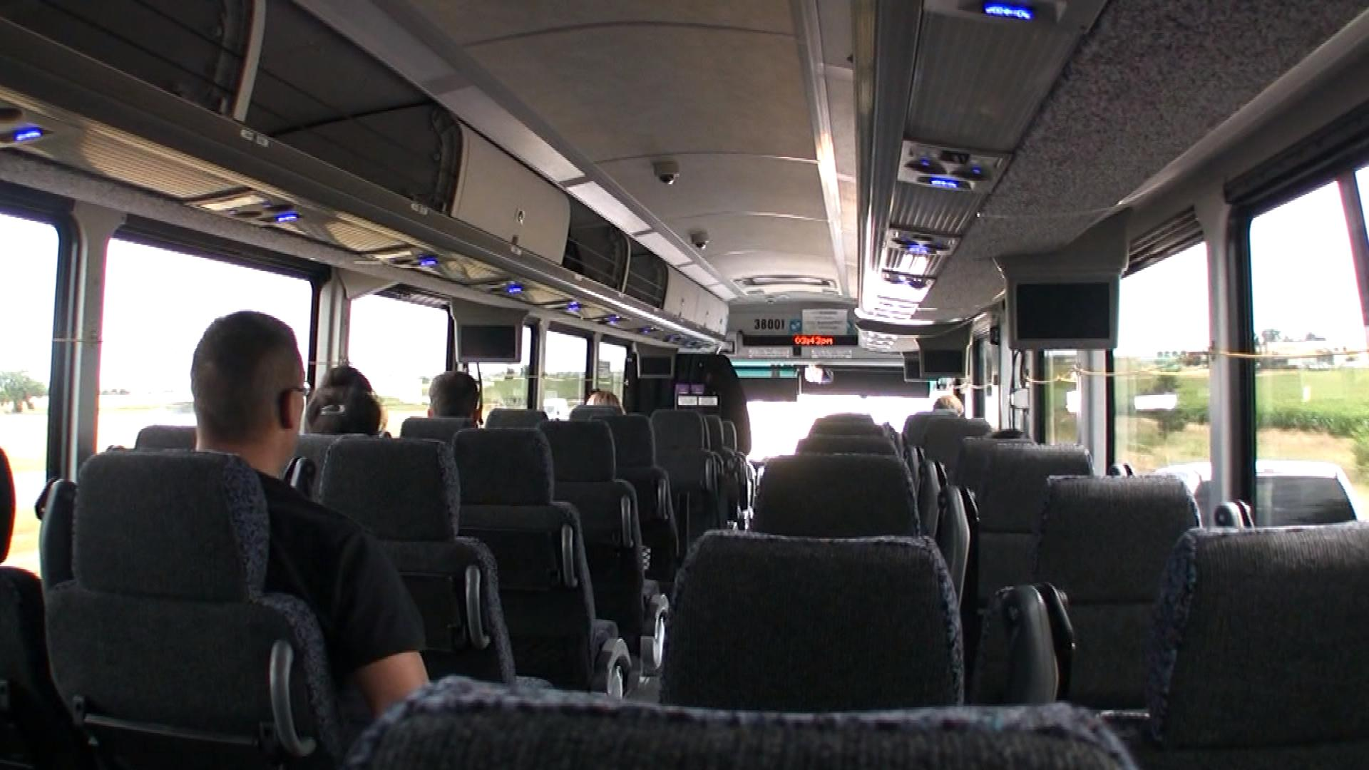 An empty Bustang traveling to Fort Collins (credit: CBS)