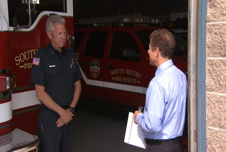 Capt. Ted Christopoulous of South Metro Fire talks with CBS4's Howard Nathan (credit: CBS)
